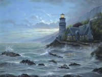 Wholesale Lighthouse Abstract - Evening Seaside Lighthouse HD Art Print Original Oil Painting on Canvas high quality Home Wall Decor,Multi size,Free Shipping,Framed