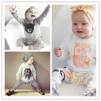 Wholesale Leopard Outfits For Babies - Baby clothes Outfits for boy girl Toddler clothes Animal Striped Letters cotton Long sleeve T-shirts tops pants 2pcs sets wholesale