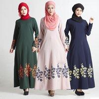 Wholesale Wholesale Peacock Print Dress - muslim peacock women dress  hongshuz printed hemp islamic women dress  fancy abaya dress
