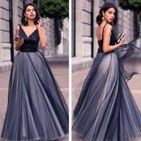 Wholesale Evening Dresses Full Skirt - 2016 Fabulous Prom Dress Long Formal V Neck Sleeveless Low Back Tulle Skirt Plus Size Evening Prom Party Gowns Full Length Cheap