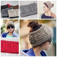 Mulheres Tampas de Crochet Headband Knit Hairband Inverno Ear Warmer Head Hat Vazio Top Winter Hats Presentes de Natal YYA431