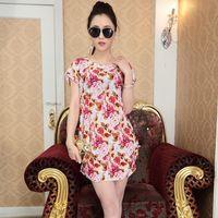Wholesale Ice Silk Dresses Plus Size - New Summer Women Plus Size Dresses Loose Mini Short Sleeves Ice Silk Flower Dot Geometric Printing Dress Suit for 90-