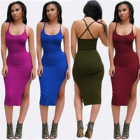 Wholesale Sexy Black Boobs - Women Clothing Summer Style Ladies Black Backless Midi Dress Side Slit Open Boob Bandage Bodycon Party Dress Sexy Club Wear S-XL 0YH7335