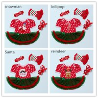 Wholesale Girl S Baby Shoes - Baby Girls Christmas Bodysuit 4pc sets headband dress romper legging shoes Snowman Santa Lollipop ReinDeer 4styles romper sets girl outfits
