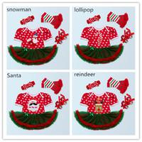 Wholesale Colour Shoes White Dress - Baby Girls Christmas Bodysuit 4pc sets headband dress romper legging shoes Snowman Santa Lollipop ReinDeer 4styles romper sets girl outfits