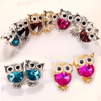 Wholesale red austrian crystal earrings - Cute Austrian Crystal Owl Earrings Women Gold Silver Plated Stud Earings Girls Christmas Jewelry Gift Mix Colors