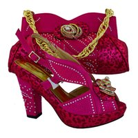 Wholesale Party Dress Patterns For Ladies - Hot sale fuchsia leaves pattern african shoes match handbag set with rhinestone ladies pumps for party MM1016,heel 12CM