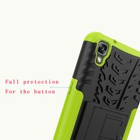 Wholesale Hd Casing - Hybrid Hard PC TPU Case For LG X Max Style Tribute HD LS676 X Power Oppo F1 Plus 3 in 1 Tyre Tire Armor Stand Shockproof Bag Skin Cover 1pcs