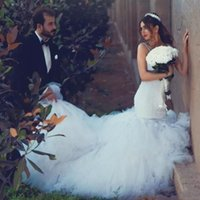 Wholesale plus size tutu wedding dresses for sale - Group buy 2019 Sexy Mermaid Wedding Dresses Sweetheart Spaghetti Straps Lace Backless Wedding Gowns Long Tutu Train Gorgeous Country Dress