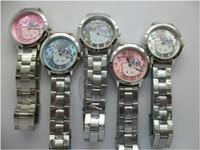 Wholesale Full Kitty - Fashion Women Girl Hello kitty KT cat style full steel metal band Wrist Watch