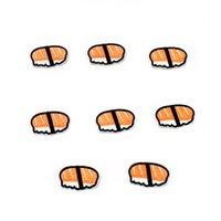 Wholesale Sushi Sticker - 10PCS salmon sushi embroidery patches for clothing iron-on patch applique iron on fashion patch sewing accessories badge stickers on clothes