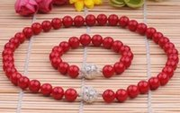 Wholesale Sea Pearl Jewelry Set - 10MM GENUINE CORAL RED SOUTH SEA SHELL PEARL NECKLACE BRACELET JEWELRY SET 18''