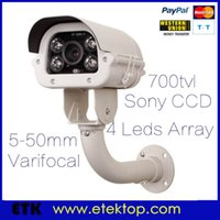 Wholesale Ccd Zoom Wireless - Outdoor CCD 700TVL IR Array Security Surveillance CCTV Camera Varifocal Zoom Lens 5-50mm Metal With Bracket OSD Menu