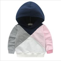 Wholesale Boys Shirt Sweater - 2017 Brand New Baby Kids Sweater T-shirt Sporting Girls Boys Hoody Patchwork Top Children Pullover Winter Spring Autumn Clothes