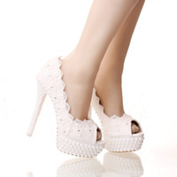 Wholesale New White Lace Peep Toes Wedding Shoes Platform White Party cm High Heel Bride Shoes Thin Heel Bridesmaid Shoes
