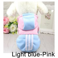 Wholesale light pink sweaters resale online - Light Blue and Pink Color Fleece Cotton Pet Dog Clothing Sweater for Puppy Clothes Winter Playsuit Coat for Dog Hoodies Dress Coat