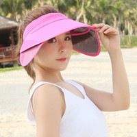Wholesale Womens Tops Large - Womens Chic Summer Retractable Visor Sun Hat Empty Top Wide Large Brim Cap Beach UV Protection Hats Adjustable Caps