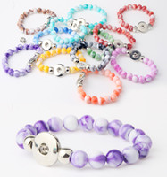 noosa perlen schnappen großhandel-Großhandel 18mm Noosa Perlen Armbänder 10mm Perlen Druckknopf Armbänder zum Verkauf