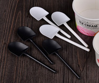 Wholesale Wedding Ice Cream Spoon - 5000pcs Disposable potted pure black white ice cream scoop shovel small potted flower pot spoon