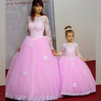 Wholesale Stunning Princess Prom Dresses - 2017 Stunning Mother and Daughter Prom Evening Party Dresses Pink Tulle Bateau Neck Illusion Sleeves Princess Formal Gowns Custom Made