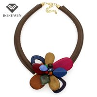 Wholesale Leather Bib Necklaces - fashion Statement Flower Necklace Women Fashion Leather Torques Wood Bead Chokers Bib Collares Maxi Necklaces & Pendants Collier