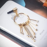 Gros-Diamond Girly Earring Tassel 3,5 mm Cell Phone Charm anti-poussière Branchez Earphone Cap pour la série iPhone 6 Plus 6 iPod Samsung Galaxy