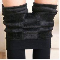 Wholesale Thick Cashmere Leggings - 7 Colors S-XL Winter Plus Cashmere Leggings Woman Casual Warm Plus Size Faux Velvet Knitted Thick Slim Super Elastic Leggings