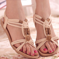 Wholesale Suede Heels Summer - 2016 Gladiator Ladies Brand new Chep Flock Plus size 39 Leisure Elastic band Flats Sandalias Summer Beach shoes School Girls Flip flops