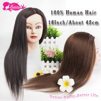 Wholesale Hairdressing Mannequin Training Head - Wholesale-High Quality Hairdressing Training Heads 100% Human Hair 18'' Mannequin Head With Long Hair Head Of Hair, Hair Practice