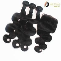 kaufen menschliches haar weben großhandel-8A Cuticle Mongolian Hair Weave 10-28inch Kaufen 3 Erhalten Sie 1 Kostenlose Spitze Schließung Vietnamesisch Birmanisch Kambodschanische Körperwelle Haarverlängerungen