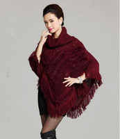 Wholesale Knitted Rabbit Poncho - drop shipping Knitted women poncho with natural rabbit fur high collar Long Batwing shawl Sweater Fashion Girl's white capes Autumn