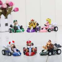 Wholesale Mario Kart Cars - High Quality Super Mario Figure PVC Super Mario Bros FIGURE In Box Kart PULL BACK Car gift toys for children 6PCS