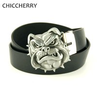 Wholesale Dog Belt Leather - Wholesale-New Fashion Silver Dog Head Novelty Unique Metal Belt Buckles with Black Brown Men's PU Leather Belts For Jeans Casual Dress