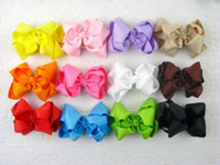 "Wholesale Crochet For Hair Bows - 2016 New 20pc 4"" Boutique Hair Bows clips without crochet Baby Girl purple blue headbands clips for girls hair accessories hairpins birthday"