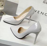 Wholesale Light Blue Wedding Heels - 2017 Women Black Sheepskin Nude Patent Leather Poined Toe Women Pumps Fashion lRed Bottom High Heels Shoes for Women Wedding shoes