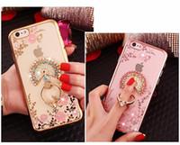 Wholesale Lg Crystal Phone - Fashion Crystal Flexible Soft TPU Cover Bling Diamond Ring Holder Phone Case With Kickstand For Samsung S6 S7 egde J3 J5 J7 Prime 2017 J510