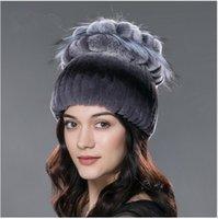 Wholesale Knit Flower Hat For Sale - 07 Sale 2017 winter beanies fur hat for women knitted rex rabbit fur hat with fox fur flower top free size casual women's hat