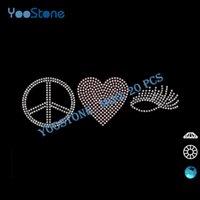 Wholesale Eyelashes Rhinestones - 2016 New Product Peace Love Eyelashes Hot Fix Motif Rhinestone For Garments Decoration 20 Pcs Lot Free Shipping