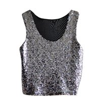 блестящие рубашки оптовых-Wholesale-Sleeveless Glitter  Women Vests Summer Fashion T-Shirt Cami Tank Crop Tops Tee For Party Club Street Clothes