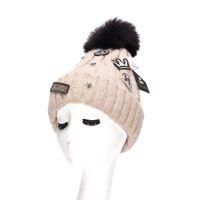 Wholesale Top Handmade Beanies - Brand Stars Winter Hats for Women Thicken Handmade Beanie Hat with Top Ball and Velvet Z-1960