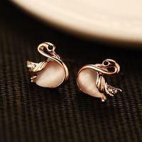 Wholesale Animal Vintage Earrings - Hot Sale Fashion Luxury Opal swan earrings High Quality women Vintage Gold Plated Jewelry Simple cute stud earrings accessories