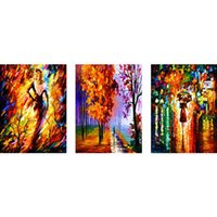 Wholesale Wholesale Wall Decor Cross - DIY Diamond Painting 3 Panels Purely Handmade DIY Wall Painting Mosaic Cross Stitch Beautiful Rainy Street View Paintings Home Decor