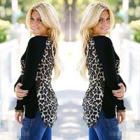 Wholesale Plus Size Womens Leopard Blouse - Wholesale- New Spring Womens Blouses Ladies Chiffon Patchwork Leopard Printed Long Sleeve Casual Loose Shirts Tops Plus Size Blusas S-5XL