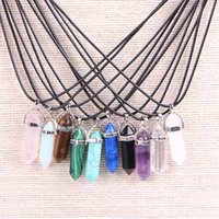 Wholesale Vintage Red Stone Pendant - Vintage Hexagonal Prism Bullet Quartz Crystal Pendant Necklace For Women Amethyst Turquoise Stone Rope Chain Necklace Mixed