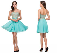Wholesale Mint V Neck Cocktail Dress - 42.9$ Mint Green Sheer Neck Short Mini Homecoming Dresses Lace Appliqued Beaded Crystals Short Party Cocktail Graduation Prom Dresses CPS357