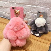 Wholesale Rabbit Iphone Cases - Luxury Cute Rabbit Plush Furry Case TPU Fur Ball Women Girl Lady Cover Case For iPhone X 8 7 6 6s Plus