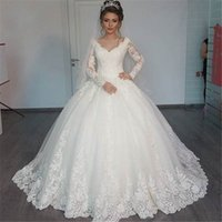 Wholesale Ship Wedding Dress China - Cheap Wedding Dresses China 2016 Free Shipping Vestido Noiva Renda V-Neck Elegant Long Sleeve Wedding Dress Ball Gowns