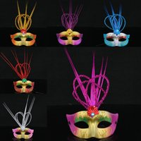 Wholesale Painting Multiple - 12PCS powder painted rain Venice mask masquerade party princess Multiple color random shipment Free Shipping