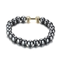 Wholesale Sale Jewellry Set - Hot Sale Men's Power Dumbbell Jewellry 8mm No Magnetic Hematite Beads with Alloy Metal Fitness Barbell Charm Bracelets