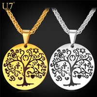 Wholesale christmas tree unique - unique Round Pendants Tree Of Life Pattern Vintage Women Stainless Jewelry Wholesale Trendy 18K Real Gold Plated Black Pendant P811
